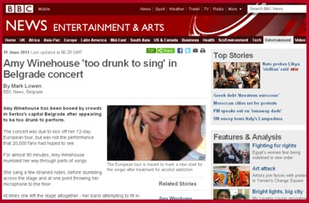 Amy Winehouse too drunk to sing in Belgrade concert