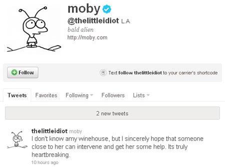 Moby na Twitteru: Pomozite Amy!