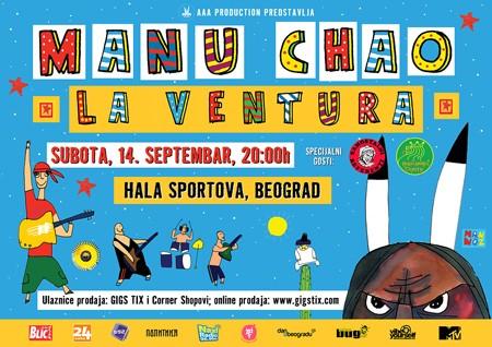 Manu Chao La Ventura 14. septembra u Hali sportova!