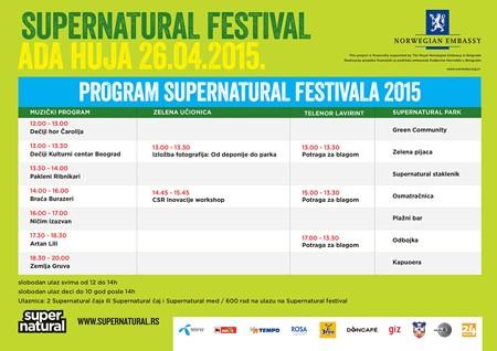 Nedelju 26. april rezervišite za Supernatural festival na Adi Huji!
