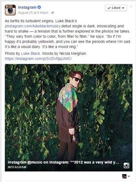 Instagram stavlja Luke Black-a rame uz rame sa muzičkim velikanima