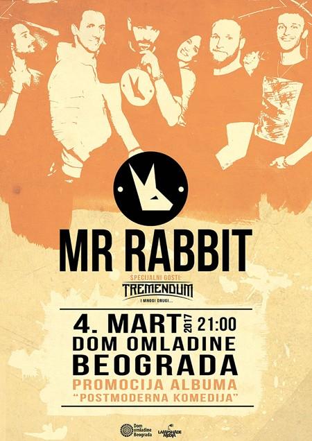 """MR.RABBIT i """"Postmoderna Komedija"""" uživo 4. marta u DOB-u"""